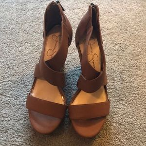 Jessica Simpson Brown Wedged Sandals